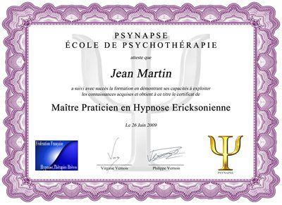 Maître Praticien Hypnose Diplome