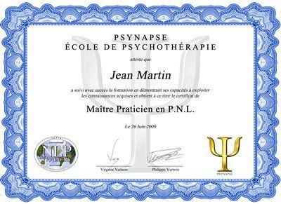 Formation Maître Praticien PNL Diplome