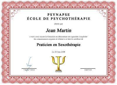 Formation Praticien en Sexothérapie Diplome
