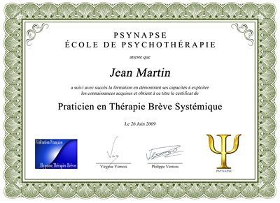 Formation Praticien Thérapie Brève Systémique Diplome