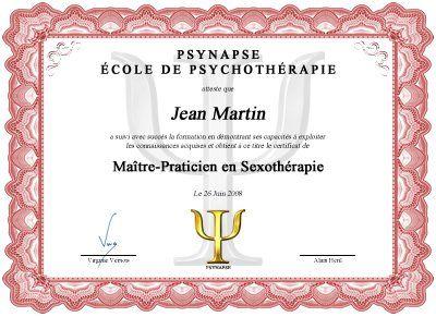 Formation Maître Praticien en Sexothérapie Diplome